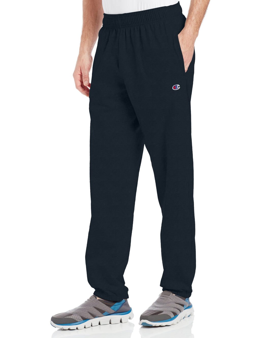 Champion Men's Closed Bottom Light Weight Jersey Sweatpant, Navy - Ctfitnesswear