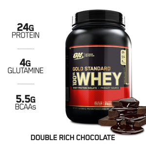 OPTIMUM NUTRITION GOLD STANDARD 100% Whey Protein Powder, Double Rich Chocolate 2 Pound - Ctfitnesswear
