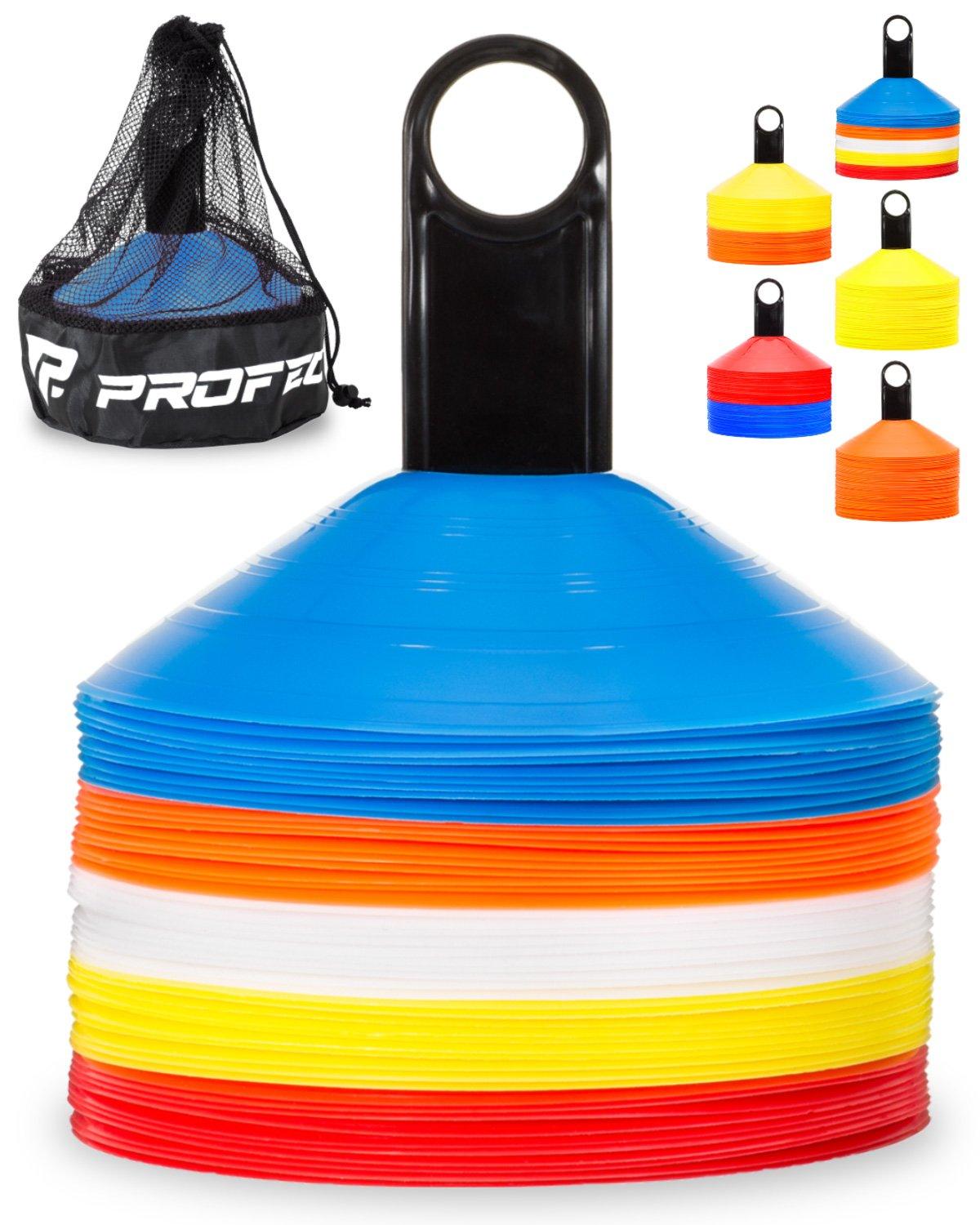 Pro Disc Cones (Set of 50) - Agility Soccer Cones with Carry Bag and Holder for Training, Football, Kids, Sports, Field Cone Markers - Includes Top 15 Drills eBook (Multi-Color) - Ctfitnesswear