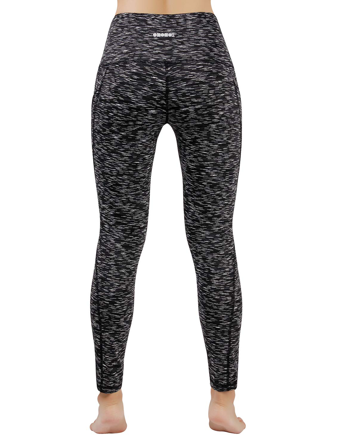 ODODOS Women's High Waist Yoga Pants with Pockets,Tummy Control,Workout Pants Running 4 Way Stretch Yoga Leggings with Pockets,SpaceDyeMattBlack,all sizes available - Ctfitnesswear
