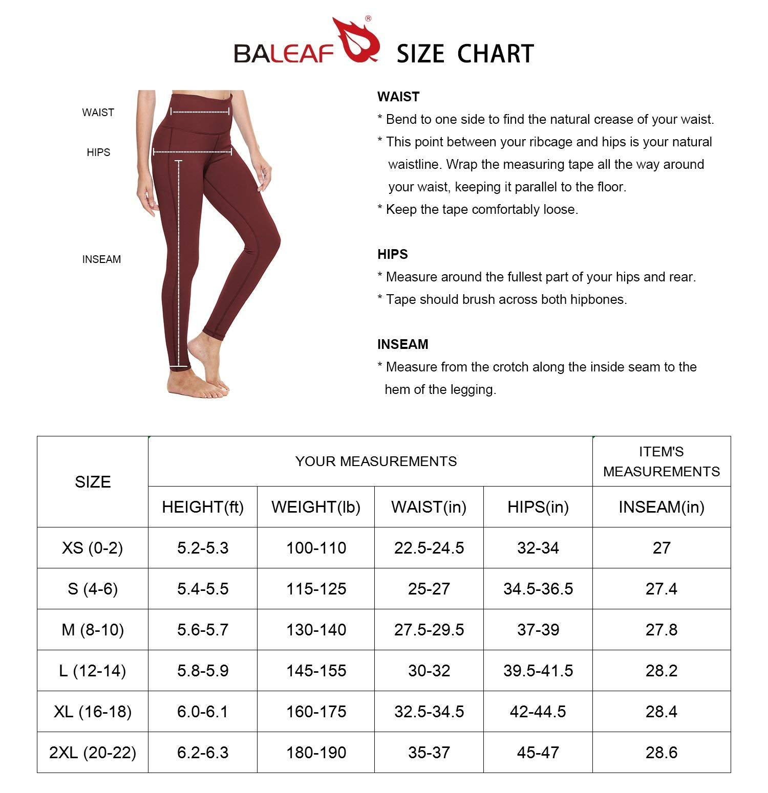 BALEAF Women's Yoga Leggings High Waisted Tummy Control Pants Non See-Through Fabric.(Plus Size/Regular)