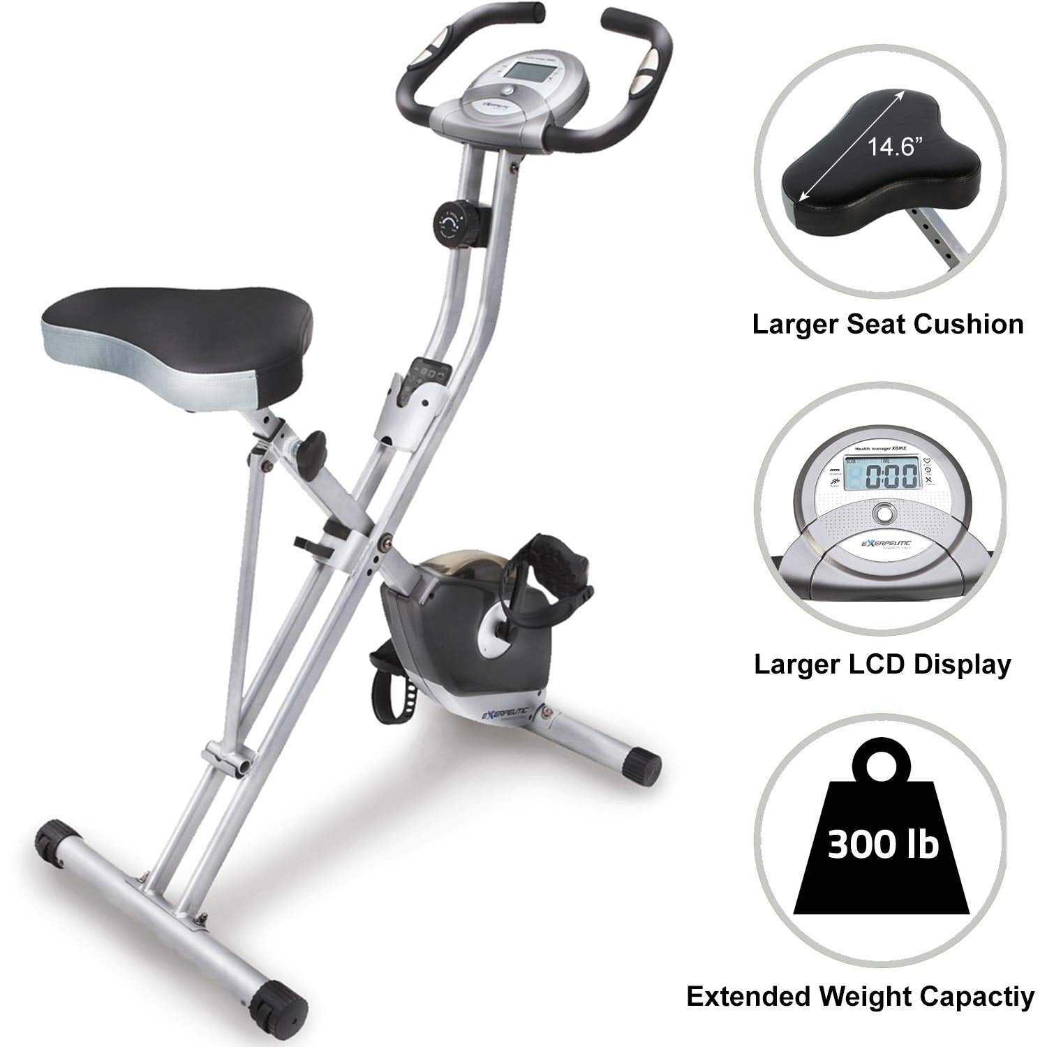 Exerpeutic Folding Magnetic Upright Exercise Bike with Pulse - Ctfitnesswear