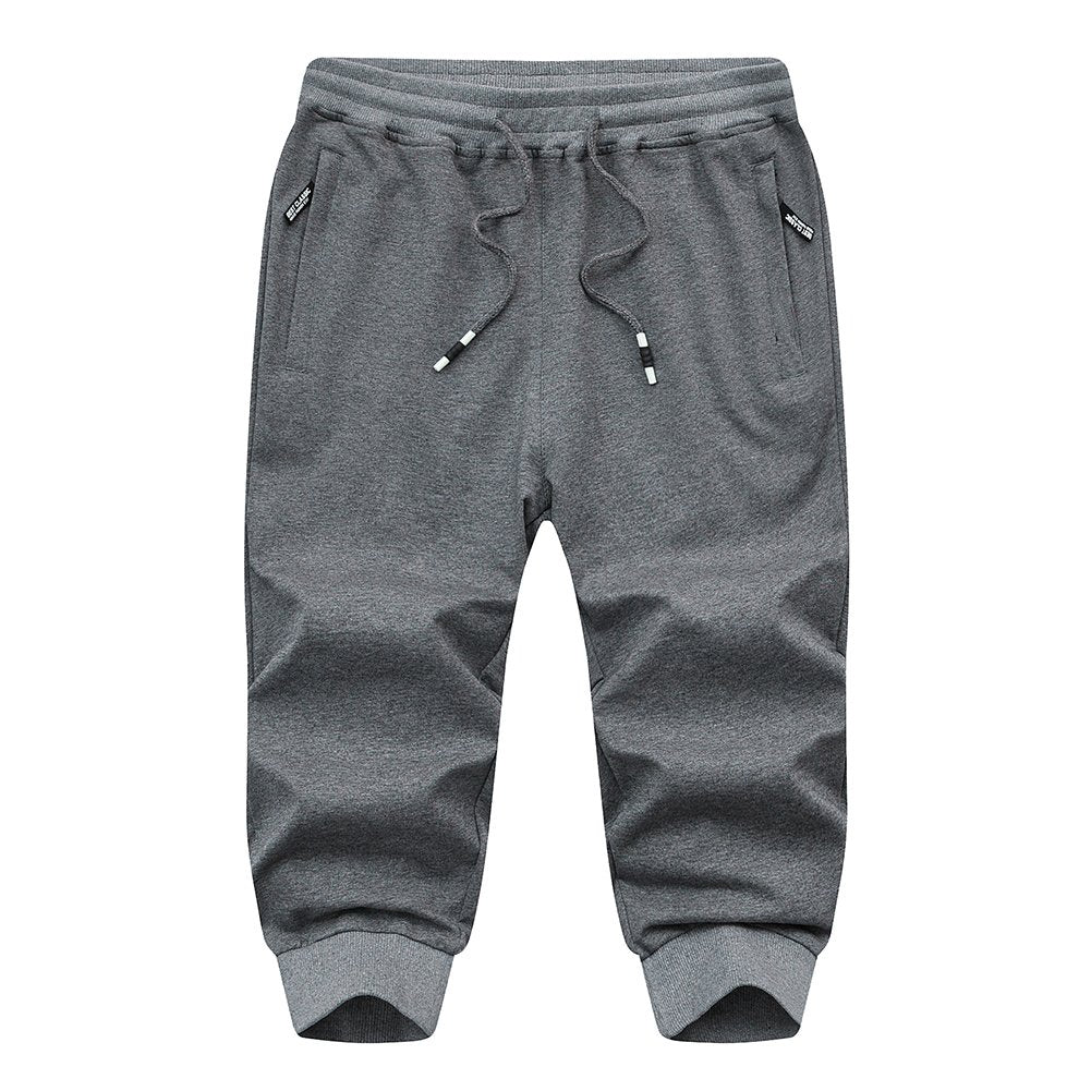 FASKUNOIE Jogger 3 4 for Men Capri Joggers Active Sports Trousers Gym Shorts with Zipper Pockets Light Gray. more colors and sizes available - Ctfitnesswear