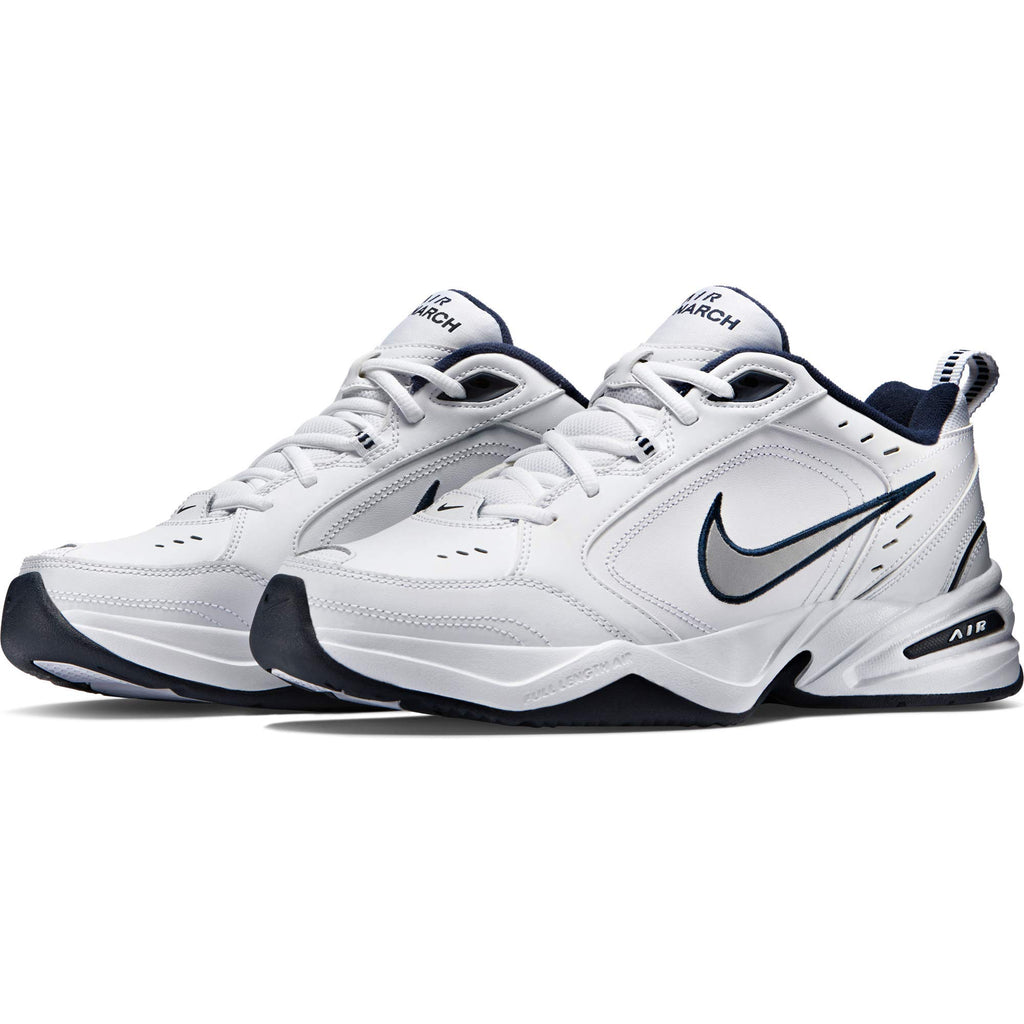 Nike Men's Air Monarch IV Cross Trainer, White/Metallic Silver/Midnight Navy, more colors and sizes available - Ctfitnesswear
