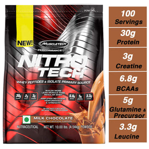 MuscleTech NitroTech Protein Powder Plus Muscle Builder, 100% Whey Protein with Whey Isolate, Milk Chocolate, 103 Servings (10lbs) - Ctfitnesswear