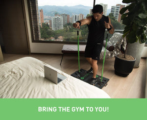 BodyBoss Home Gym 2.0 - Full Portable Gym Home Workout Package, Includes 1 Set of Resistance Bands (2) - Collapsible Resistance Bar, 2 Handles + More - Full Body Workouts for Home, Travel or Outside