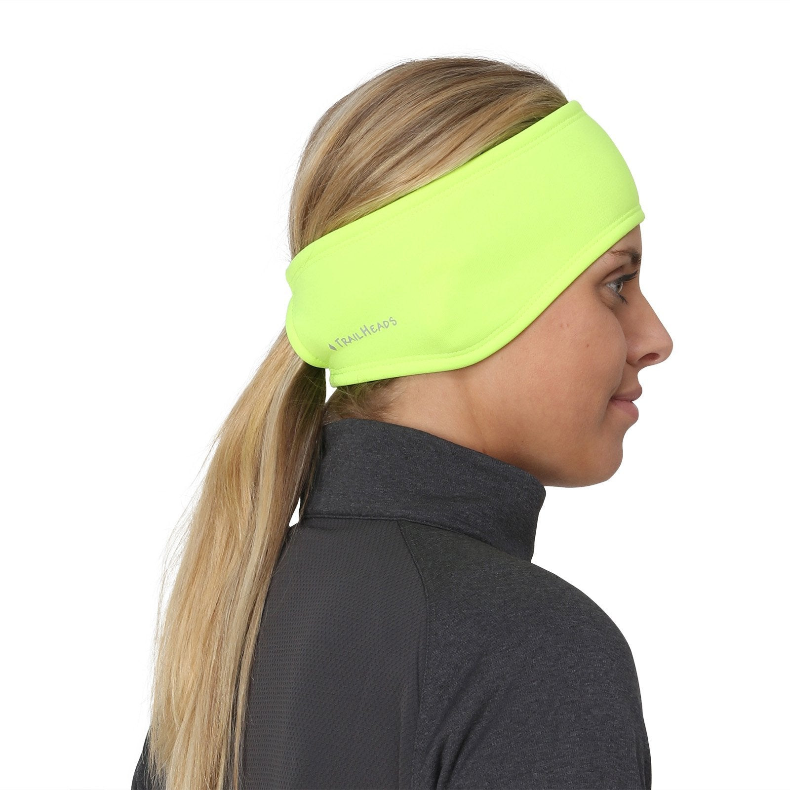 TrailHeads Women's Ponytail Headband | Moisture Wicking Ear Band | The Power Running Headband - hi-vis - Ctfitnesswear