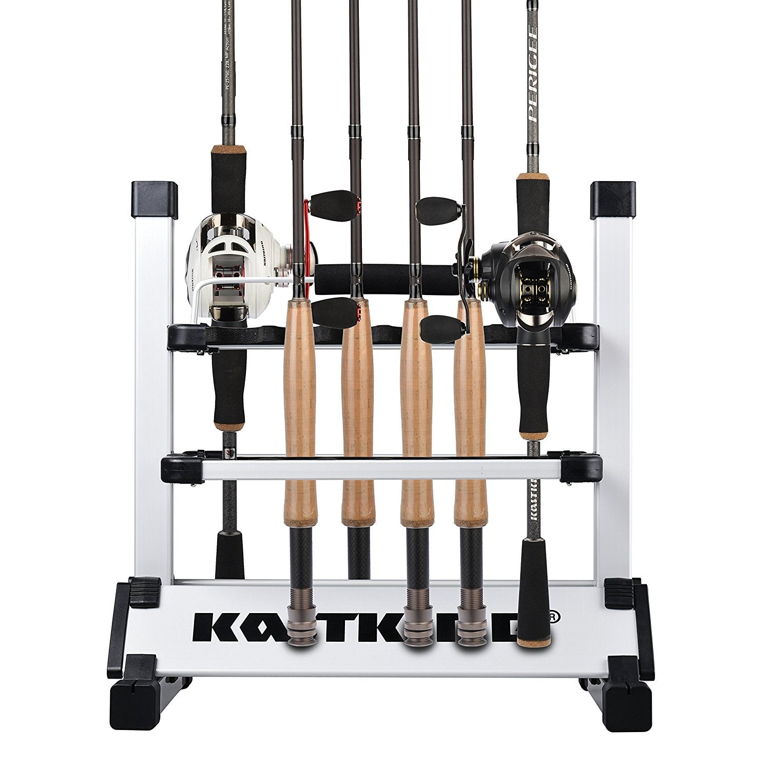 KastKing Rack 'em Up Portable Aluminum Fishing Rod Holder - 12 Rods Rack SilverBlack - Ctfitnesswear