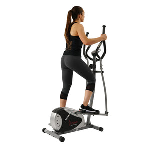 Magnetic Elliptical Machine Trainer by Sunny Health & Fitness with LCD Monitor, 220 LB Max Weight, 8 Level Resistance and Pulse Monitor - SF-E905 - Ctfitnesswear
