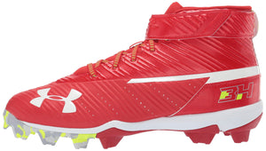 Under Armour Men's Harper Mid RM Baseball Shoe, Red (600)/White, all sizes available - Ctfitnesswear