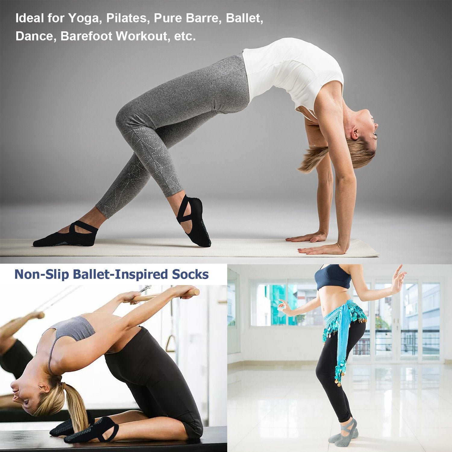 Ozaiic Yoga Socks for Women Non-Slip Grips & Straps, Ideal for Pilates, Pure Barre, Ballet, Dance, Barefoot Workout(click for sizes) - Ctfitnesswear