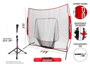 PowerNet Baseball Softball Practice Net 7x7 with Deluxe Tee (Pink) | Practice Hitting, Pitching, Batting, Fielding | Portable, Backstop, Training Aid, Lg Mouth, Bow Frame | Training Equipment Bundle