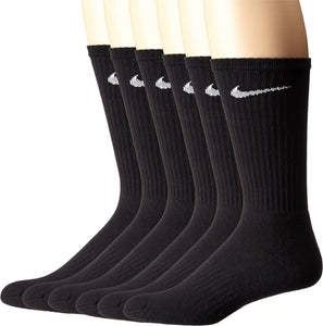 NIKE Unisex Performance Cushion Crew Socks with Band (6 Pairs), Black/White, Large - Ctfitnesswear