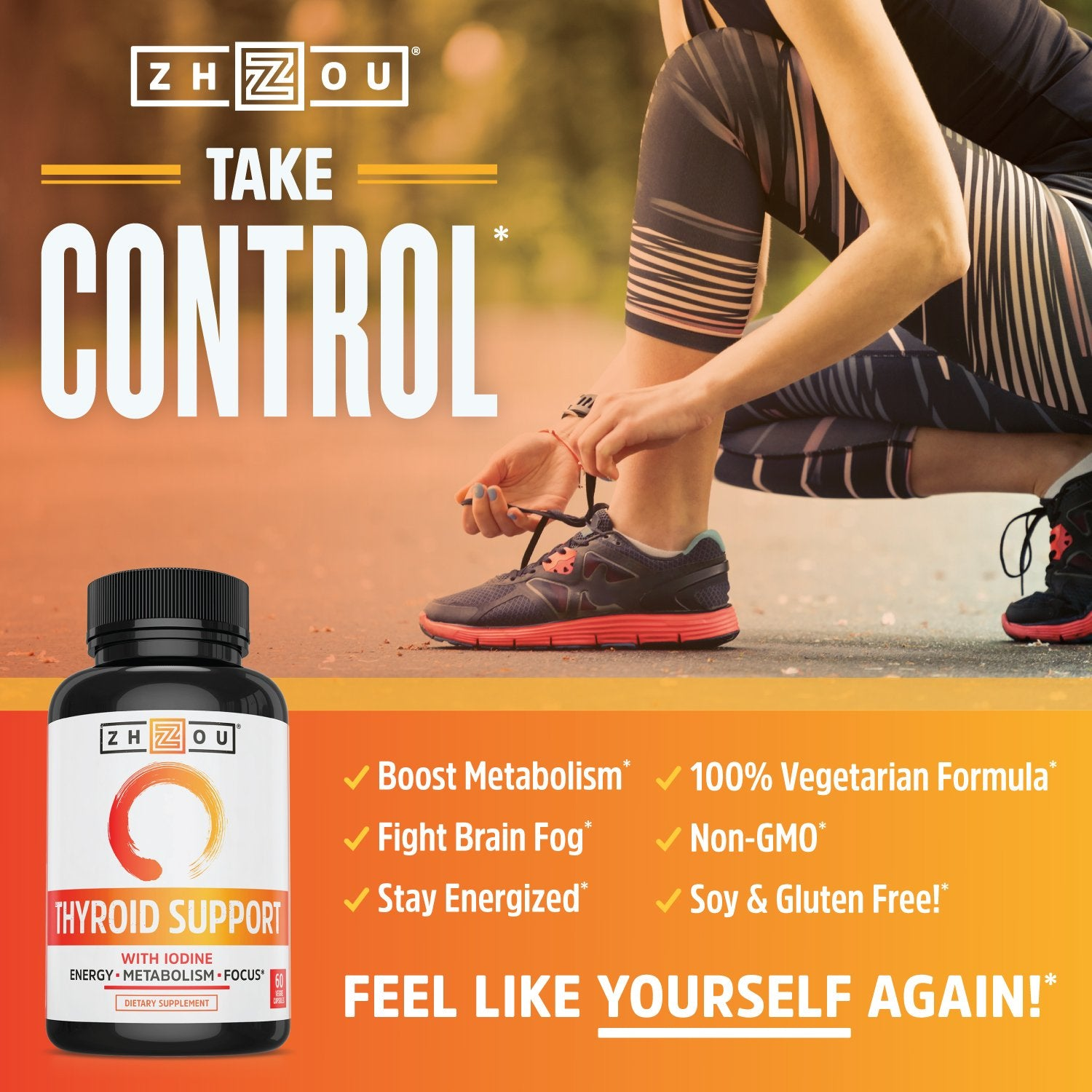 Thyroid Support Complex with Iodine - Energy, Metabolism & Focus Formula - Vegetarian, Soy & Gluten Free - 'Feel Like Your Old Self Again' - Ctfitnesswear