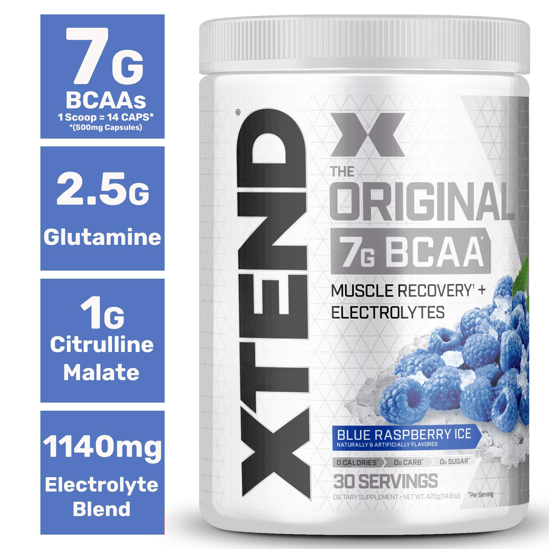 Scivation Xtend Bcaa Powder, 7g bcaas, Branched Chain Amino Acids, Keto Friendly, Blue Raspberry Ice, 30 Servings - Ctfitnesswear