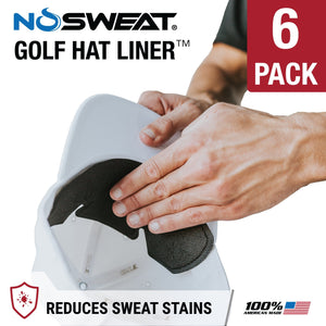 No Sweat Golf Hat Liner & Cap Protection - Prevent Hat Stains Rings, Moisture Wicking, Headband, Sweatband, Hat Saver & Protection, Prevention, Cooling Towel Effect (6-Pack) - Ctfitnesswear