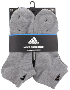 adidas Men's Athletic Cushioned Low Cut Socks (6-Pair), Heather Grey/Black, (Shoe Size 6-12)