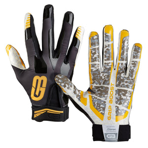 Grip Boost Stealth Super Sticky Football Gloves Pro Elite, Youth & Adult Men Sizes (Black/Gold, Youth Small) - Ctfitnesswear