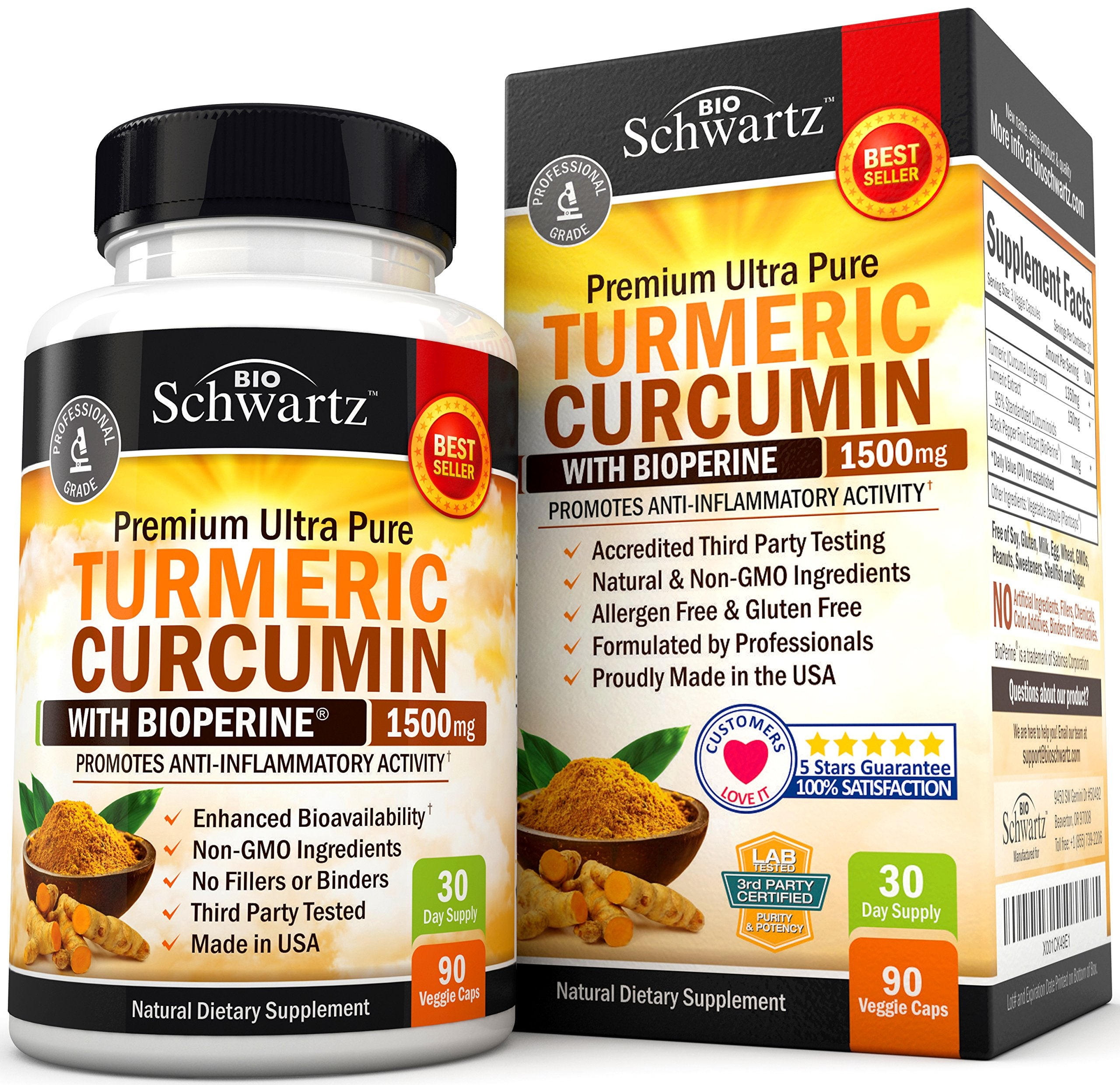 Turmeric Curcumin with Bioperine 1500mg. Highest Potency Available. Premium Pain Relief & Joint Support with 95% Standardized Curcuminoids. Non-GMO, Gluten Free Turmeric Capsules with Black Pepper - Ctfitnesswear
