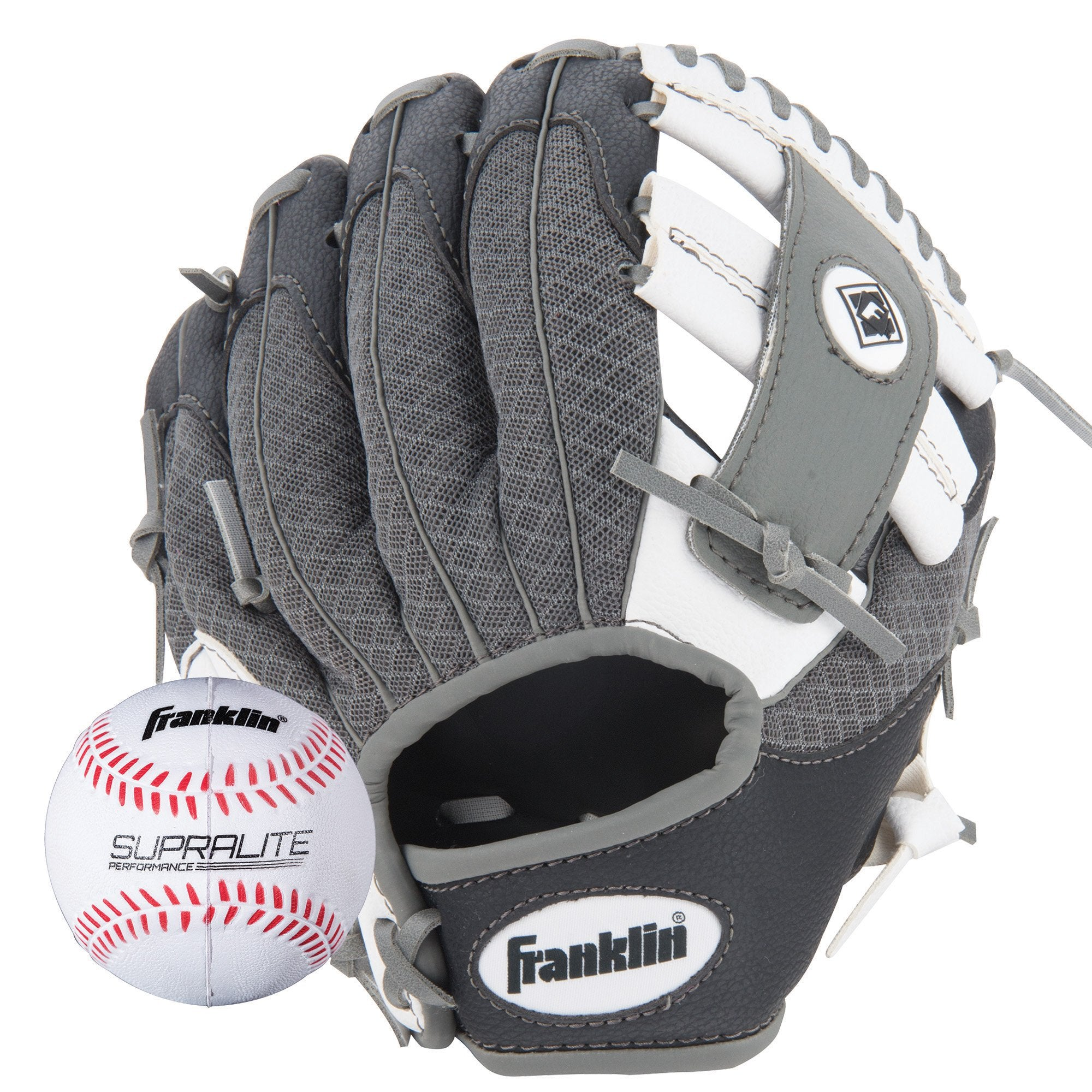 Franklin Sports Teeball Glove - Left and Right Handed Youth Fielding Glove - Synthetic Leather Baseball Glove - Ready To Play Glove - Black/White/Gray with Ball - Ctfitnesswear
