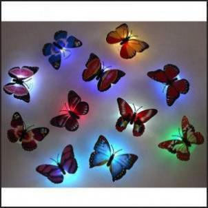 10Pcs ABS Beautiful Butterfly LED Night Light Lamp with Suction Pad Multicolor Send in Random kdo2rev