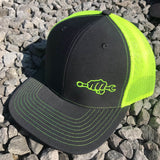 Neon Yellow Busted Knuckle Snapback Trucker Hat