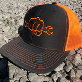 Neon Orange Busted Knuckle Snapback Trucker Hat