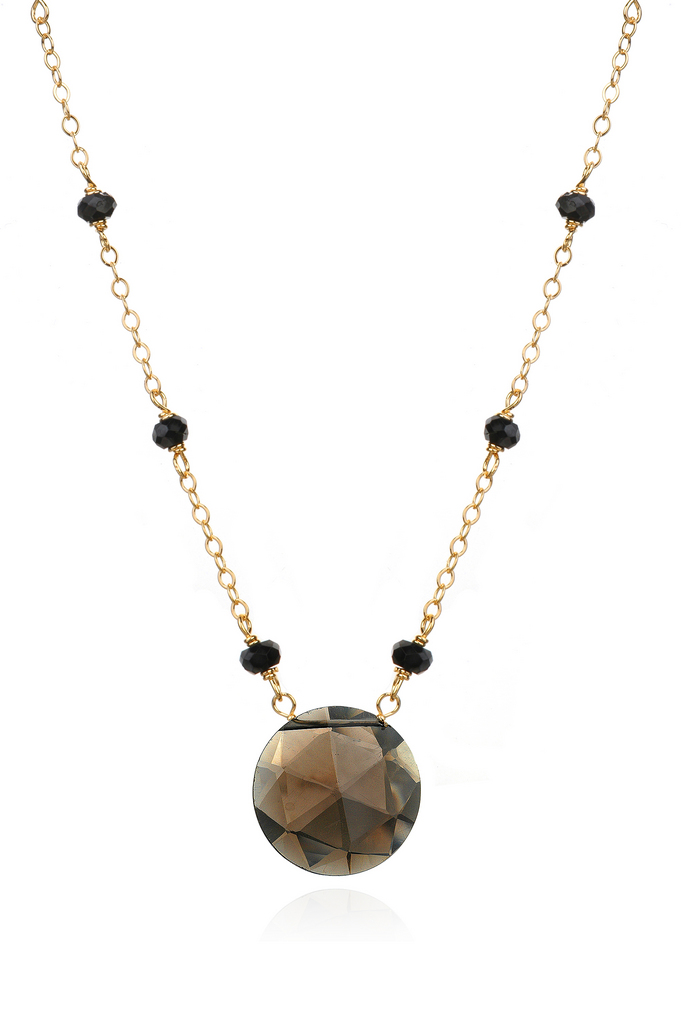 Black Garnet and Smoky Quartz Necklace