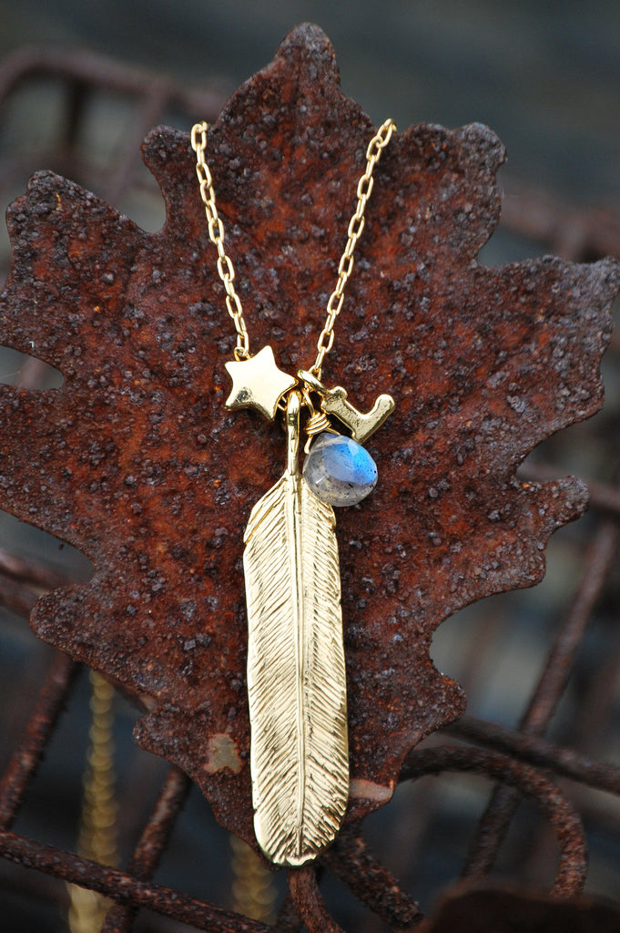 Sterling Feather Charm Necklace