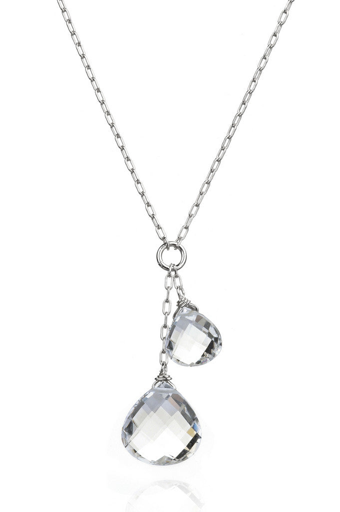 Gifts for Grads - Rock Crystal Quartz Double Drop Necklace