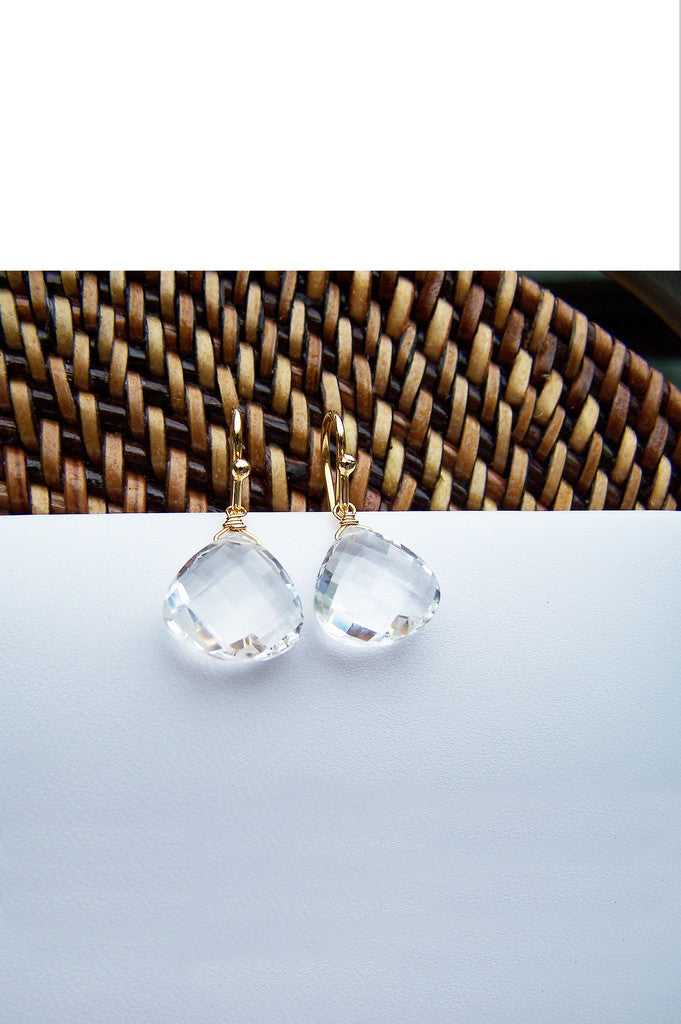 Gifts for Grads - Rock Crystal Quartz Drop Earrings