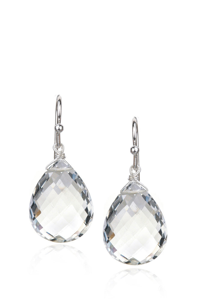 Rock Crystal Quartz Teardrop Earrings