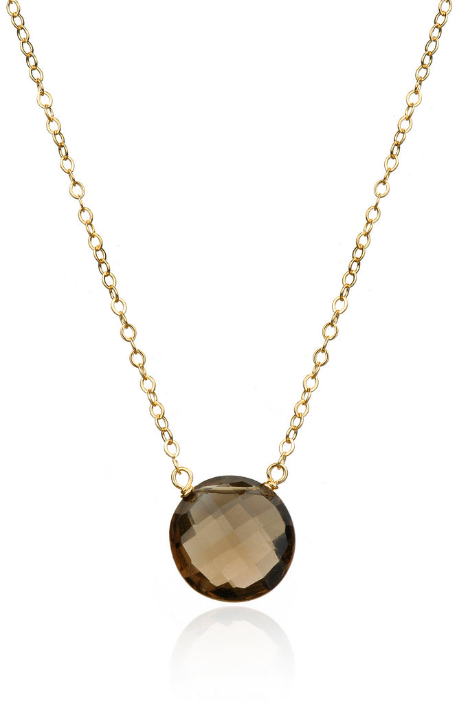 Smoky Quartz Coin Necklace