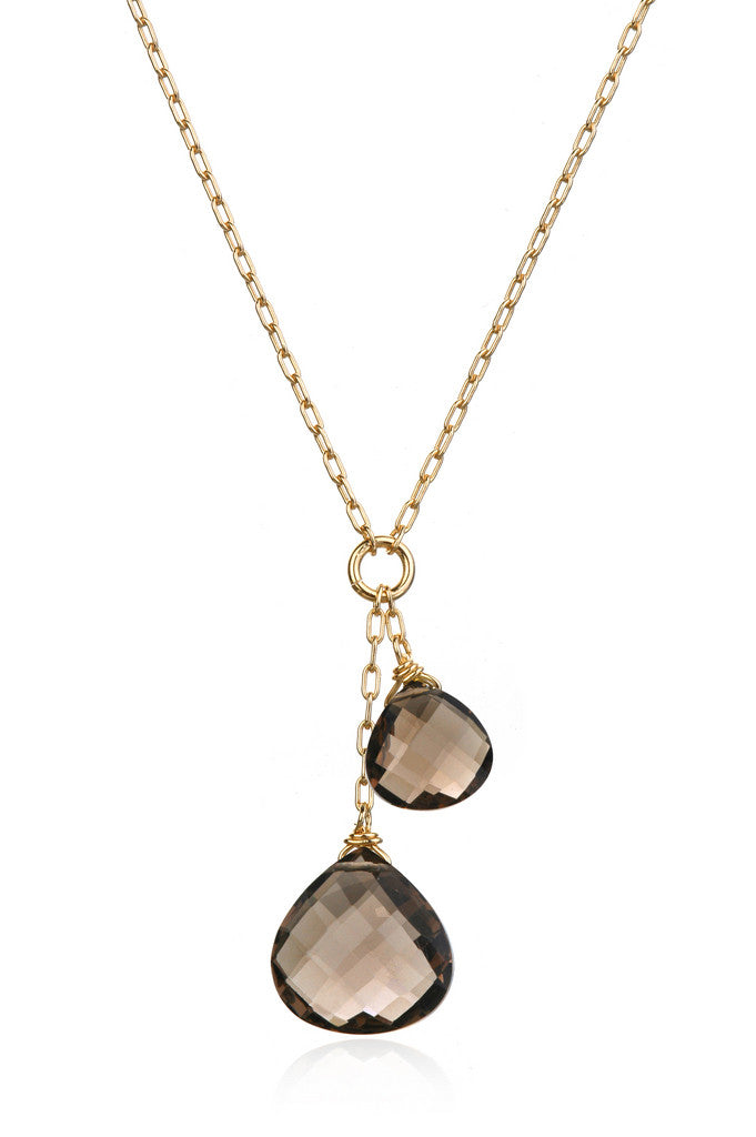 Gifts for Grads - Smoky Quartz Double Drop Necklace