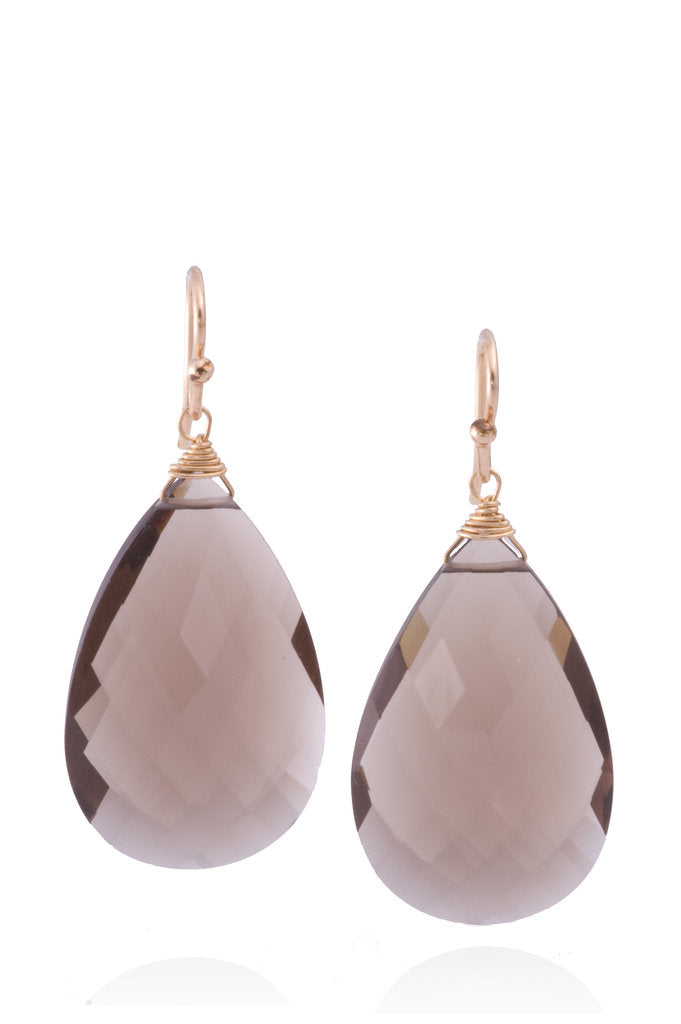 Smoky Quartz Large Teardrop  Earrings