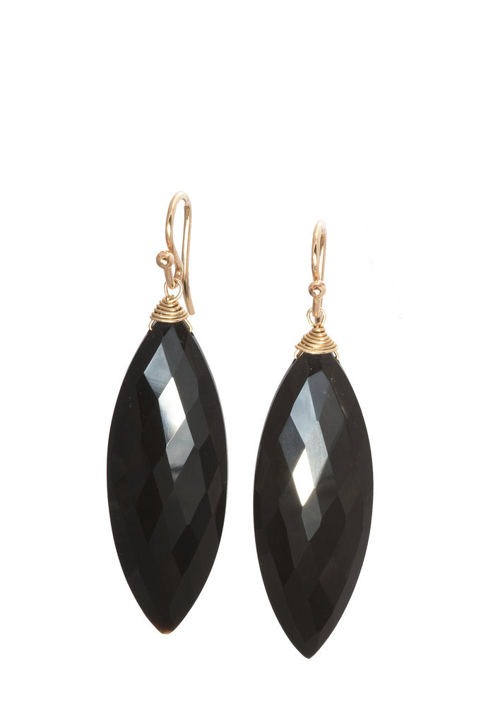 Black Onyx Marquis Earrings