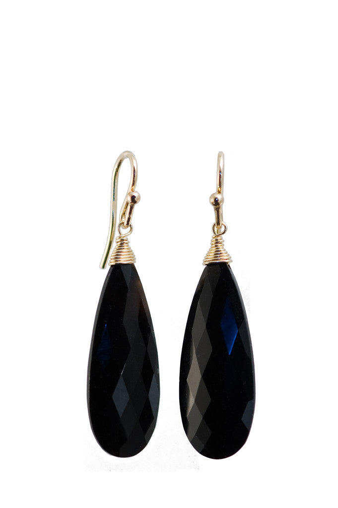 Black Onyx Tapered Almond Earrings