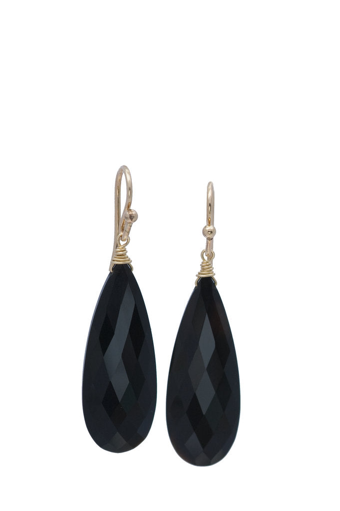 Black Onyx Tapered Almond Earring