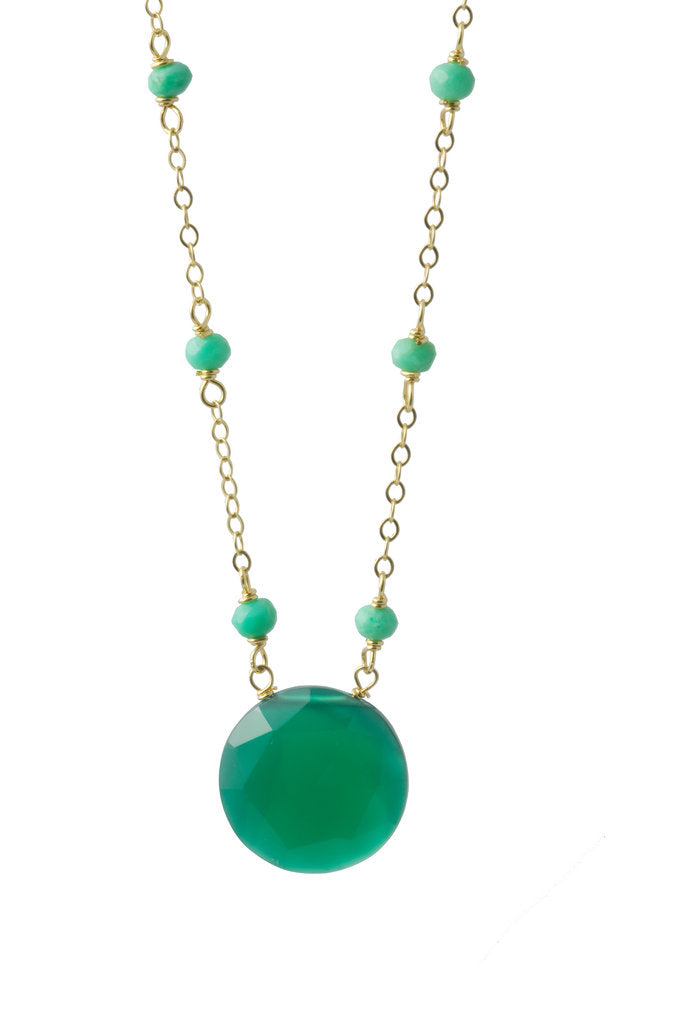 Chrysoprase and Green Onyx Coin Necklace