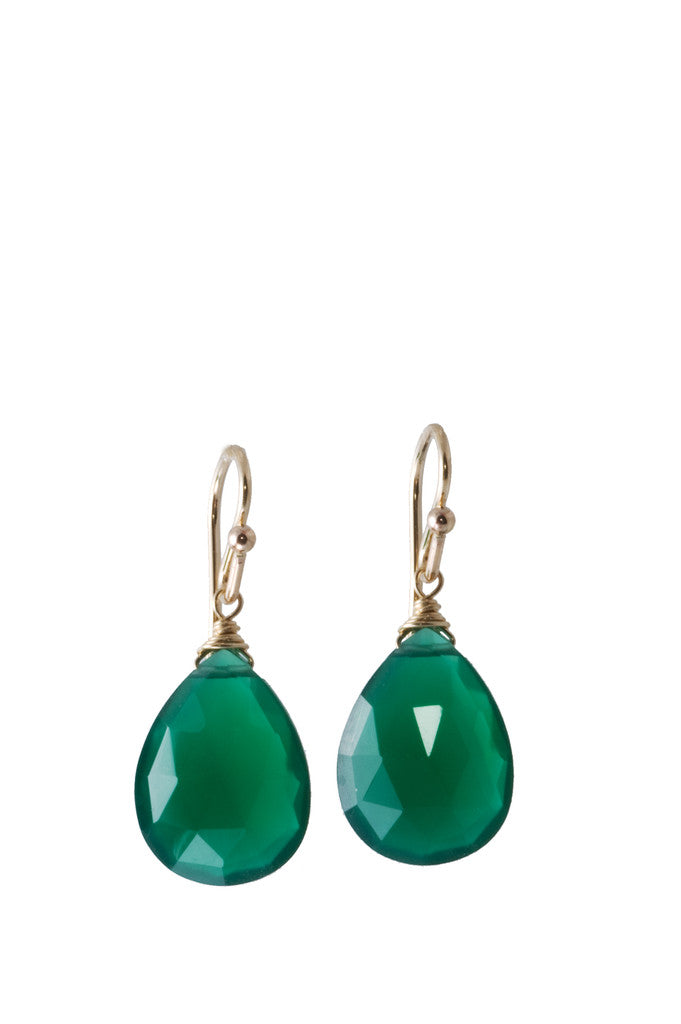 Green Onyx Small Almond Earrings