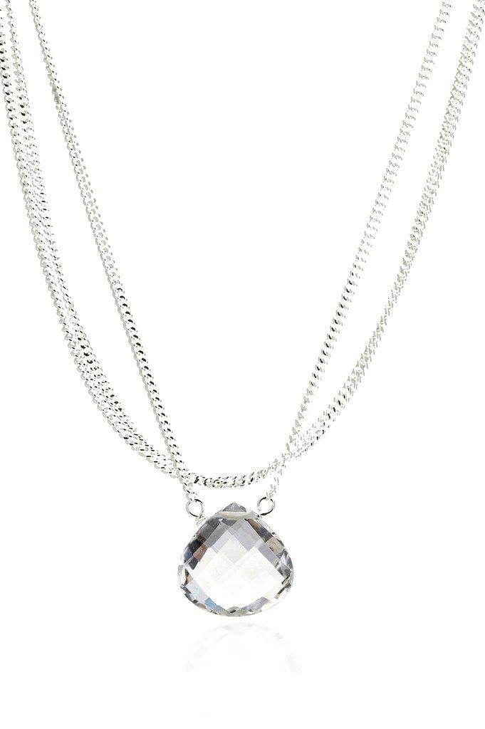 Rock Crystal Quartz Triple Strand Necklace