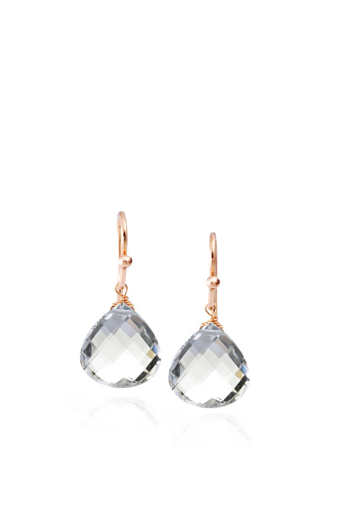 Rock Crystal Quartz Drop Earrings in Gold