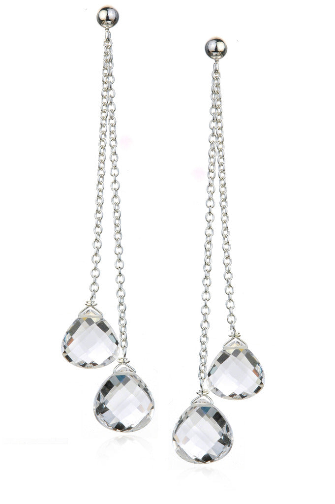 Rock Crystal Quartz Double Drop Earrings in Sterling