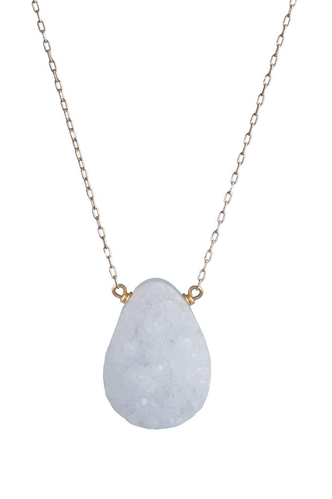 Rock Crystal Quartz Druzey Pendant Necklace