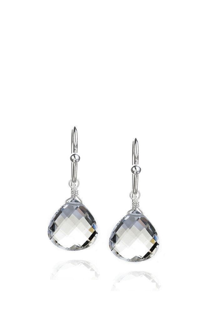 Rock Crystal Quartz Drop Earrings in Silver