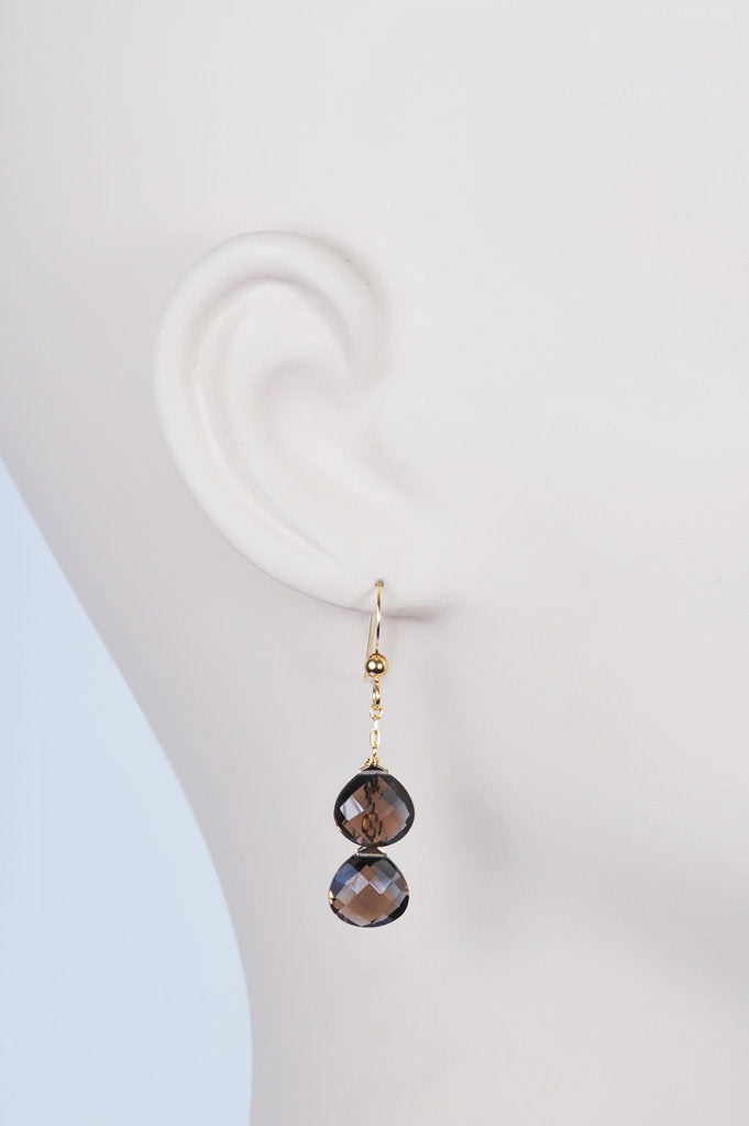 Smoky Quartz Double Drop Earrings