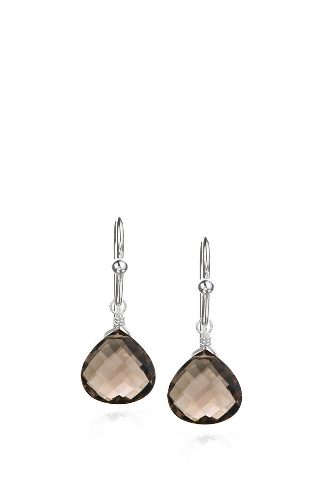 Smoky Quartz Tabiz Earrings - Silver