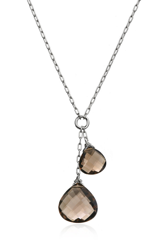 Smoky Quartz Double Drop Necklace - Silver