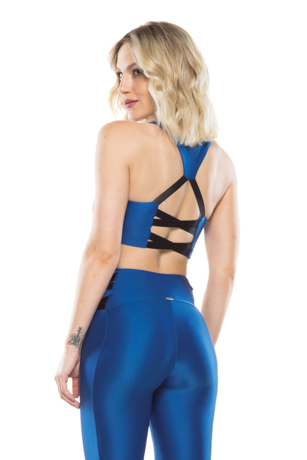Royal Blue Lace Up Sports Bra