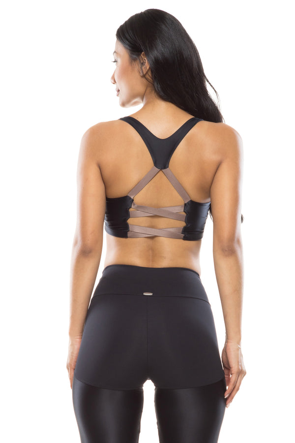 Black Lace Up Sports Bra